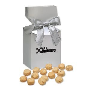Gourmet Bite-Sized Butter Toffee Pecan Cookies in Silver Gift Box
